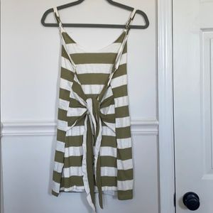 Green/white stripped tie up dress